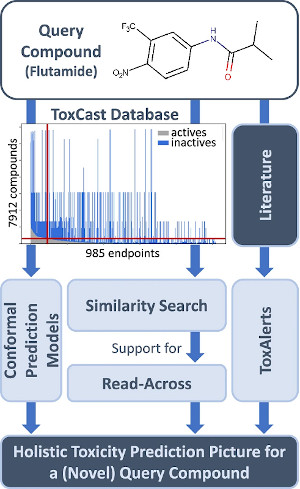 Overview of KnowTox. Combining toxicity information from different sources, the complementary outputs of the KnowTox tool help to generate a holistic toxicity prediction picture for a novel query compound (figure taken from Morger, 2020).